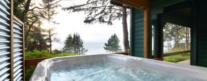 view from hot tub pergola