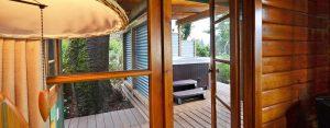hot tub in private covered pergola