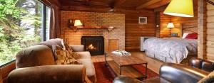 point no point resort cabin 2 livingroom and bedroom