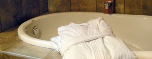 plush robes in the bath at cabin 14 Point no Point Resort