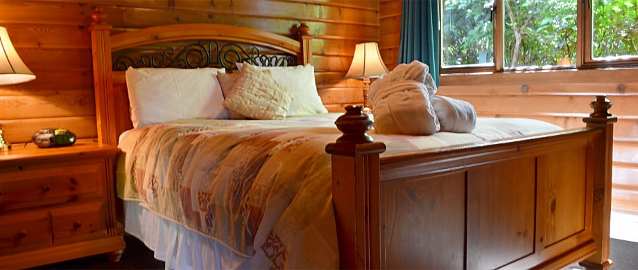 cabin 9 and 10 log cabin duplex bedroom at point no point resort