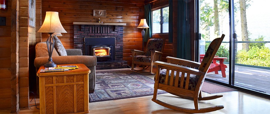cabin 9 and 10 log cabin duplex interior at point no point resort
