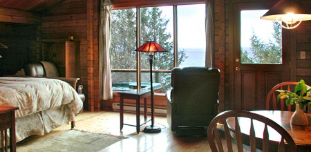 eagle cabin interior at Point No Point Resort, Vancouver Island