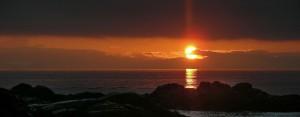 beach sunset at point no point resort, vancovuer island